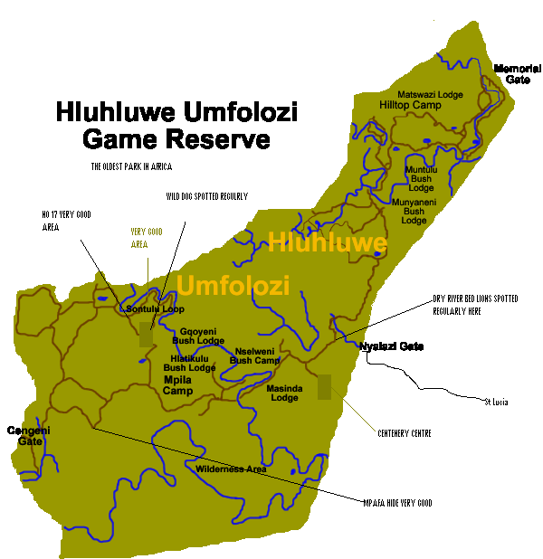South Africa Map Game.Hluhluwe Imfolozi Sighting Map Hluhluwe Game Reserve Accommodation