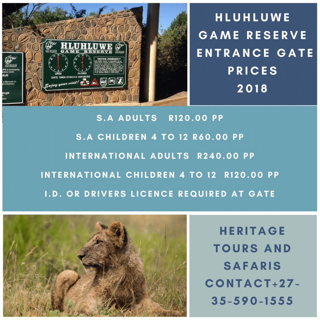Hluhluwe Game Reserve  Entrance Gate Prices  2018